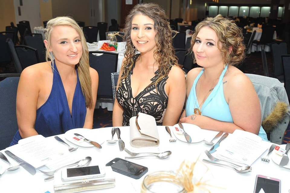 Sarah Hancock, Allana Condron and Emily Mowbray at the 2016 ShowAll Rural Ball in Wagga Wagga.
